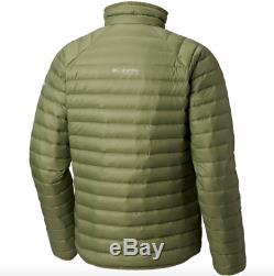 Columbia Alpha Trail Down Jacket Mens Size M Medium Mossstone Omni Heat