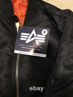 G. I. USAF MA-1 Black Flyers Jacket By Alpha Industries, Made In USA