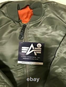 G. I. USAF MA-1 Green Flyers Jacket By Alpha Industries, Made In USA