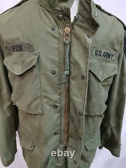 Genuine 1973 US Army Issue Olive Green 107 Alpha M65 Medium Reg Jacket #12