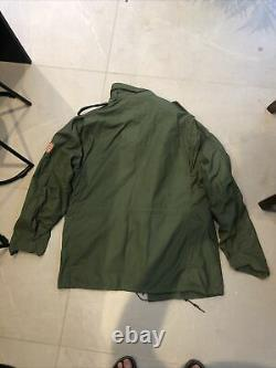 Genuine Alpha Industries M65 Army Field Jacket Large Regular Peace Patches