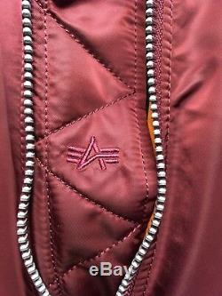 Genuine Alpha Industries MA-1 Burgundy Core Line Reversible Flight Bomber Jacket