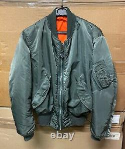 Genuine Us Alpha Industries Jacket Flyers Man Ma-1 Made In USA Vg-ex! Medium