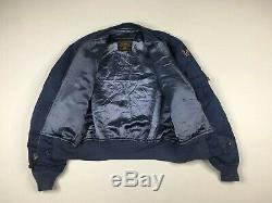 L-2A Alpha Industries Blue Flight Jacket Size Medium Vintage Label USA Made