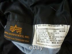 MADE IN USA MA-1 Alpha Industries MEDIUM Pilot Flight Jacket US BLACK ALPHA USA