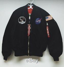 M Authentic Alpha Industries Mens Apollo Ma-1 Nasa Flight Jacket Medium