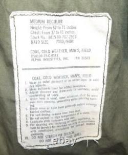 Men's 1975 Vietnam ALPHA M-65 Cold Weather Military Field Jacket Coat M Hooded