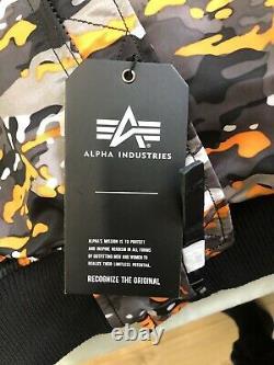 Mens ALPHA INDUSTRIES MA-1 VF 59 FLIGHT JACKET (Size Medium) Black Camo Orange