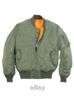 Mens Alpha Industries MA1 Flight Jacket. Flying. Bomber Coat Medium Green 5,55