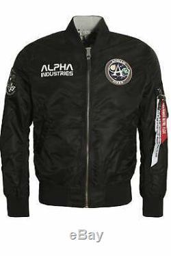 Mens Bomber ALPHA INDUSTRIES MA-1 NASA Moon Landing Reversible Jacket Black