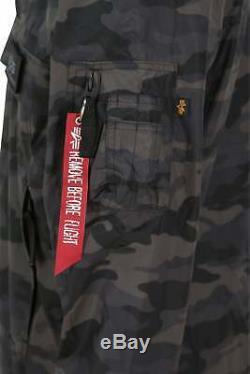 Mens Jacket ALPHA INDUSTRIES Lightweight Teflon LW Anorak Black Camo