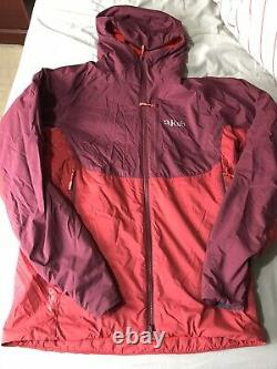 Mens Rab Hooded Alpha Direct Jacket Burgundy Red Polartec medium Pertext