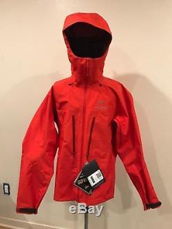 NWT $750 Mens Arcteryx Alpha SV Jacket Medium Orange