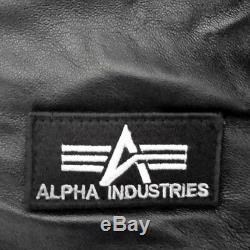 New Alpha Industries MA-1 D-Tec Black genuine Leather Bomber Pilot Jacket origin