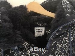 Opening Ceremony navy blue flight jacket fur paisley Alpha Industries medium M