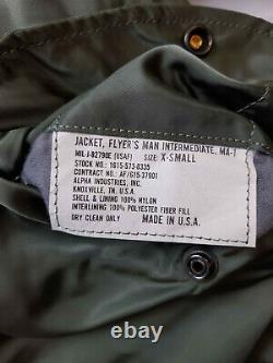 Original Flight Jacket MA1 Army Pilot Air Force Alpha Industries Padded Bomber