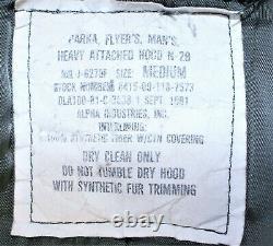 Parka N-2b Alpha Industries Vintage 1981 Jacket Flying Attached Hood Medium