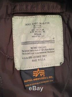 RARE Alpha Industries CWU-45/P Flyers Jacket Medium Brown Bomber USA Vintage