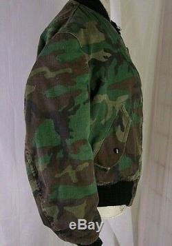 Usaf Alpha Industries Men's Ma-1 Ctn Flight Jacket Woodland Camo Med