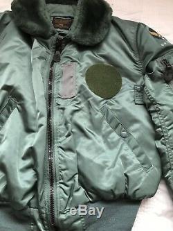 VINTAGE Mens ALPHA INDUSTRIES B-15D GREEN Flight Jacket MEDIUM 40 CHEST