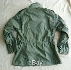 VTG 70s Cold Weather Coat Field Alpha M-65 Jacket OD Medium Regular SCOVILL Zip