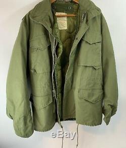 VTG ARMY Cold Weather Coat Field Alpha Mens Jacket OD dsa-100-70-c-0613 Medium