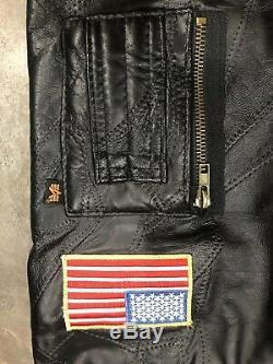 VTG Alpha Industries Black Leather Patchwork NASA Patch Jacket Mens Medium