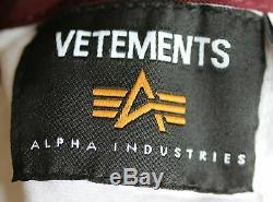 Vetements X Alpha Industries Reversible Cropped Bomber Jacket Medium