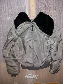 Vintage AIR CREW JACKET N-2B Alpha Industries Fur Collar USAF MEDIUM