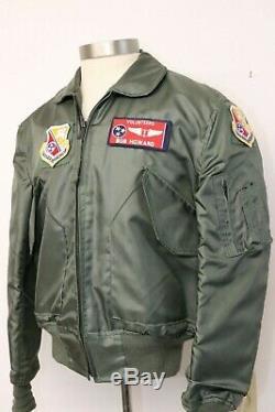 Vintage Alpha 1980s CWU-36/P Bomber Jacket Pilot Flyers Sz Med Patches Nomex