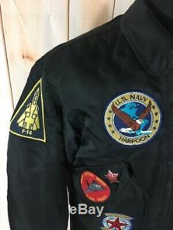 Vintage Alpha Industries Flight Nylon Bomber Jacket US Navy F-14 Men's Medium