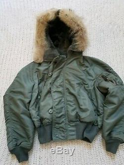 Vintage! Military AIR CREW N-2B JACKET Alpha Industries Coyote Fur Split Hood M