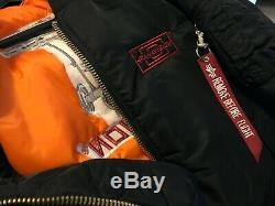 Vintage Panavision Alpha Military Bomber Flight Jacket Black M Camera + Hat NEW