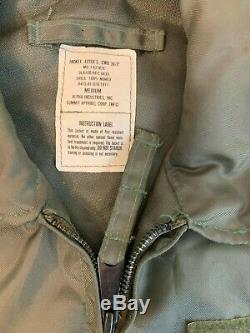 Vtg Usaf Alpha Industries Flyer Jacket Cwu 36/p Sz M Olive Raf Ma-1 Fire Resist