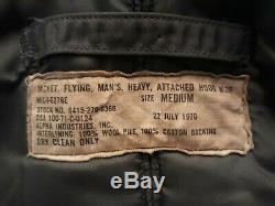 Vtg Vietnam Era Alpha Industries N-2B Men's Fur Hood Flight Jacket USAF Sz Med