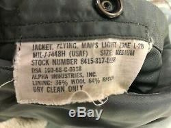 1968 Usaf L-2b Alpha Industries Inc 'model H' Light Zone Flying Jacket Med