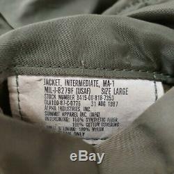1987 Veste De Vol Intermédiaire Usaf Ma-1 Alpha Industries Vintage Militaire Des Années 80