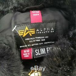 Alpha Industries B-15 Bomber Flat Hem Slim-fit Veste Taille Moyenne Nouveau