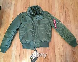 Alpha Industries B-15 Bomber Flight Jacket, Taille M Slim Fit, Vert, Armée
