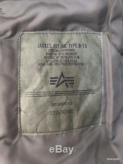 Alpha Industries B-15 Hommes Slim Fit Sage Fausse Fourrure Nylon Bomber Flight Jacket