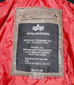 Alpha Industries Bomber Hommes III Injector En Cuir Brun Veste D'hiver Taille M