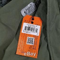 Alpha Industries Femmes J-4 Fishtail Puffer Anorak Veste Sz M-65 Vert Olive