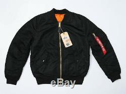 Alpha Industries Femmes Ma-1 Flight Jacket Taille Medium Noir