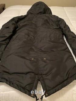 Alpha Industries Fishtail Winter Parka Coat Jacket Mens Hodded Black Medium