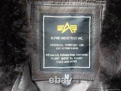 Alpha Industries G1 Veste De Vol En Cuir Étiquette M
