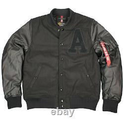 Alpha Industries Herren Authentic College Veste Baseballjacke Schwarz 6396