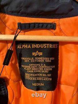 Alpha Industries Hommes Marine Bomber Veste Taille Moyenne