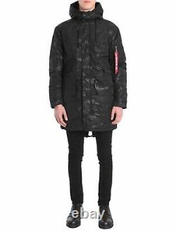 Alpha Industries Hooded Fishtail Cw Field Veste Homme Black Parka Outwear