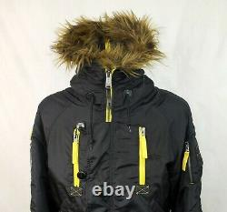 Alpha Industries Inc. Hommes Paded Faux Fur Hoooded Jacket Taille M Bomber