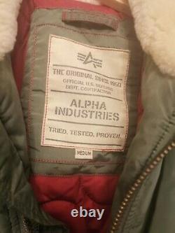 Alpha Industries Injecteur 111 Bomber Veste Taille Moyen Vert Foncé